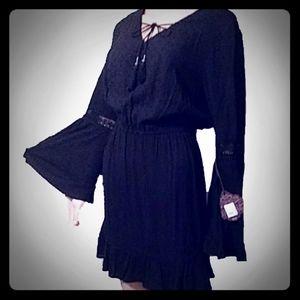 NWT Sz Large WITCHY BOHO BLACK DRESS BELL SLEEVES